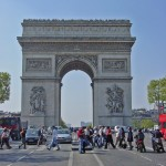 The Arc de Triomphe, photographed from the Champs-Elysees
