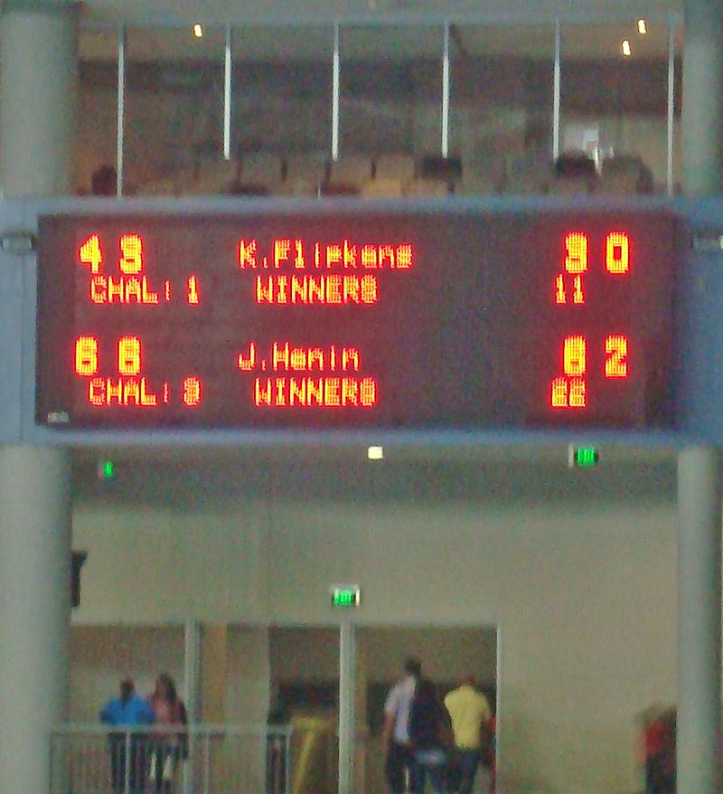 My blurry shot of the scoreboard