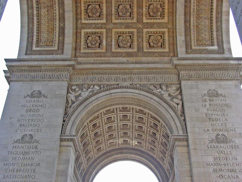 The inside of the Arc de Triomphe